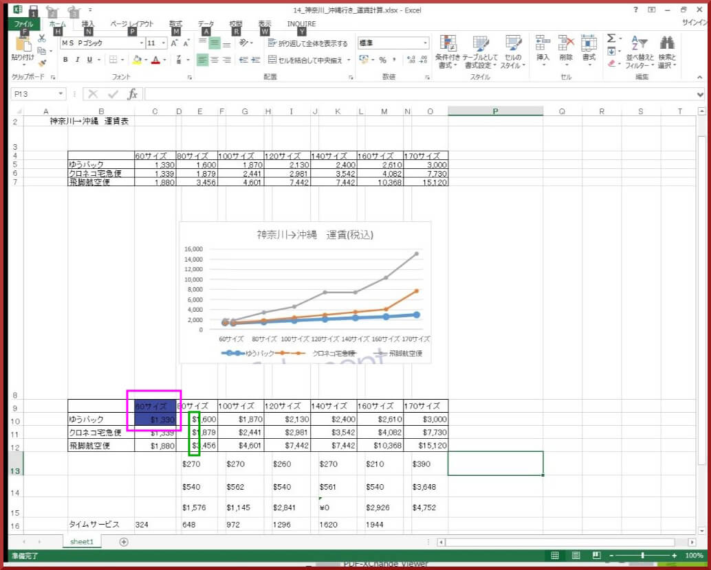 Excelに変換後
