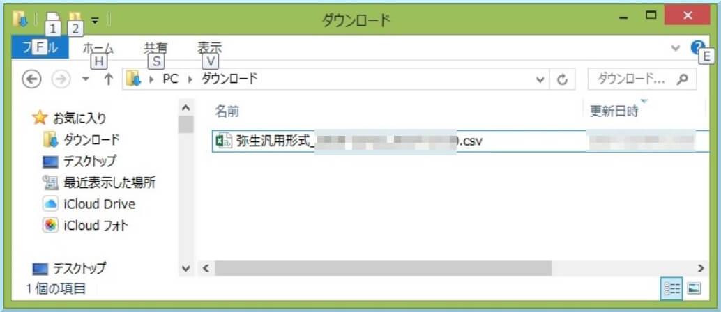 汎用形式のcsvファイル