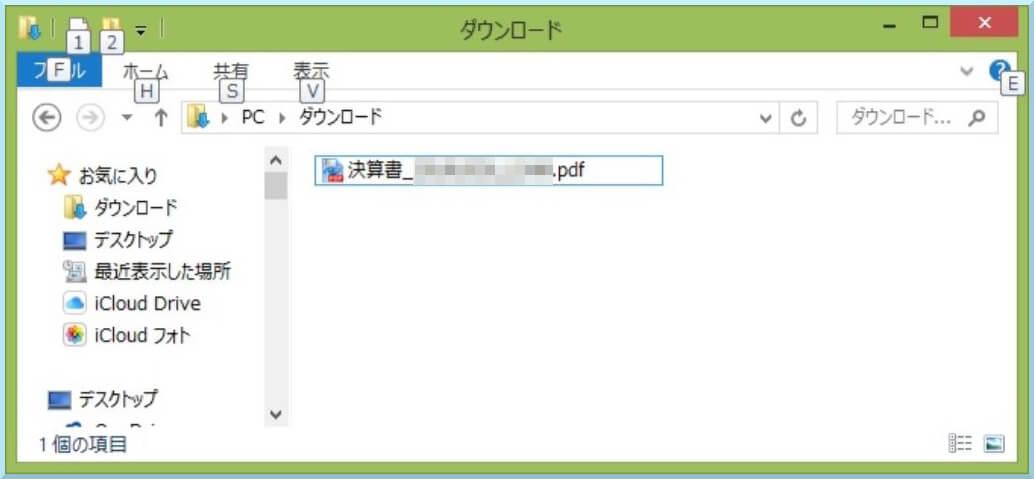 決算書のpdfファイル