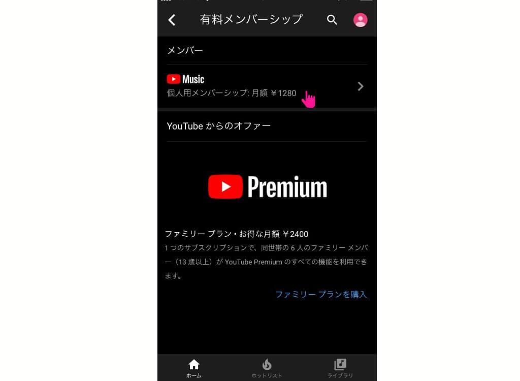 YouTube Music 個人用メンバーシップ