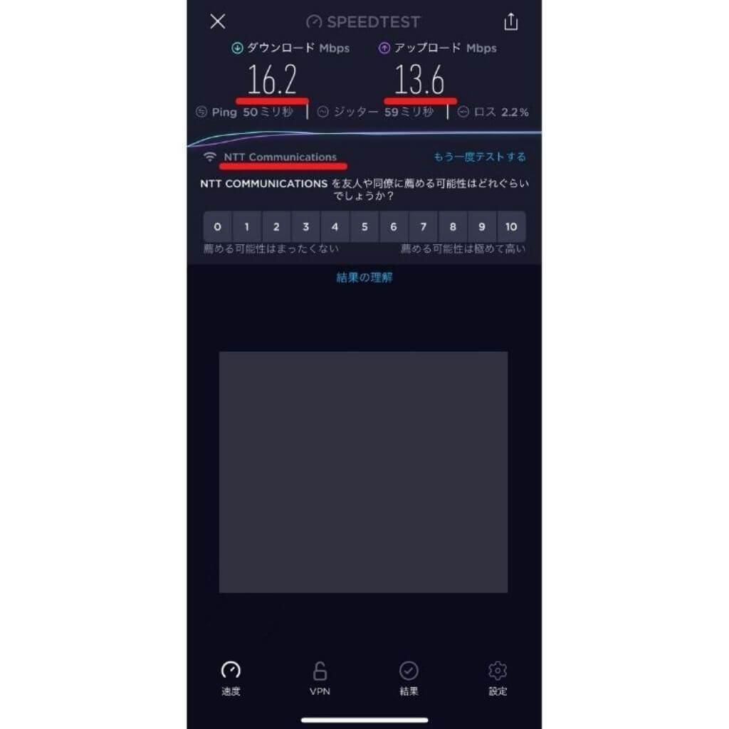 LINEモバイルSIMのスピードテスト